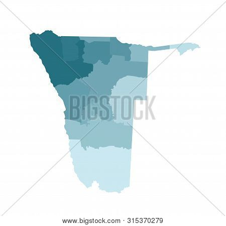 Vector Isolated Illustration Of Simplified Administrative Map Of Namibia. Borders Of The Regions. Co