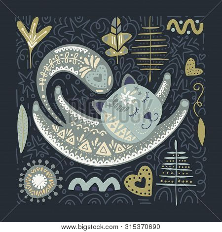 Folk Art Vector Animal Illustration In Scandinavian Style. Tribal Nordic Square Card With Detailed C