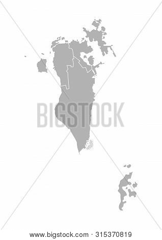 Vector Isolated Illustration Of Simplified Administrative Map Of Bahrain. Borders Of The Governorate