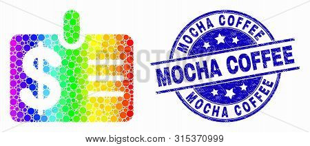 Dot Rainbow Gradiented Dollar Badge Mosaic Pictogram And Mocha Coffee Stamp. Blue Vector Rounded Tex