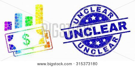 Pixel Spectral Financial Charts Mosaic Icon And Unclear Seal. Blue Vector Rounded Textured Stamp Wit