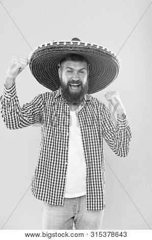 His Passion Is To Party. Mexican Man Wearing Sombrero. Hipster In Wide Brim Hat. Bearded Man In Mexi