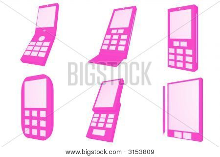 Mobile Phones Designs Type Icons Set
