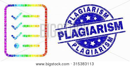 Dotted Spectrum Items List Page Mosaic Pictogram And Plagiarism Seal. Blue Vector Round Grunge Seal
