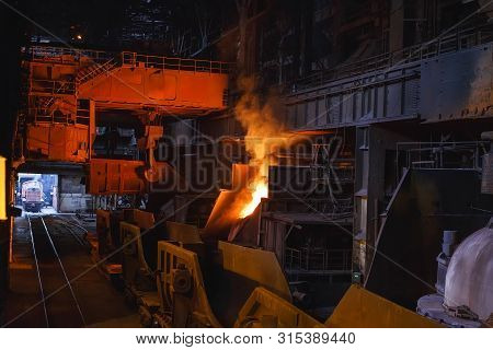 smelting of the metal in the foundry, Metallurgical industry. poster