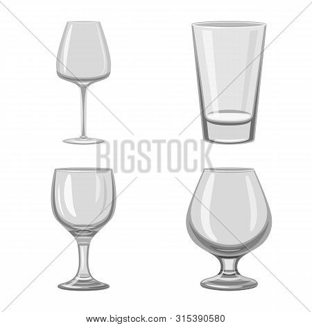 Vector Illustration Of Capacity And Glassware Symbol. Set Of Capacity And Restaurant Stock Vector Il