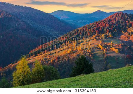 Beautiful Autumn Countryside Landscape At Dusk. Trees In Fall Foliage. Clouds On The Sky. Amazing Vi