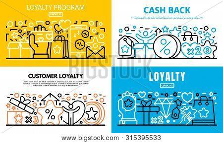 Loyalty Program Reward Banner Set. Outline Set Of Loyalty Program Reward Vector Banner For Web Desig