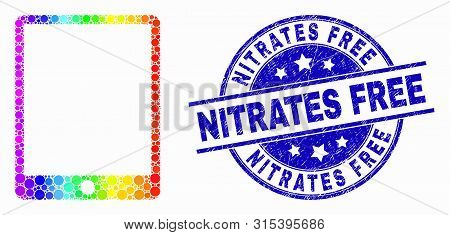Dotted Rainbow Gradiented Mobile Organizer Mosaic Pictogram And Nitrates Free Seal. Blue Vector Roun