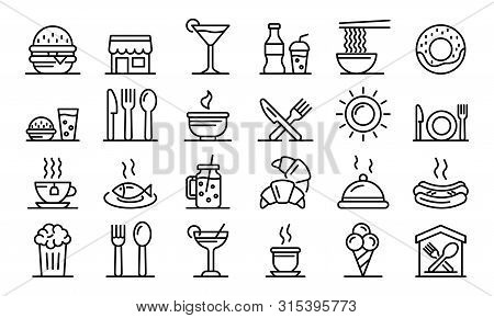 Food Courts Icons Set. Outline Set Of Food Courts Vector Icons For Web Design Isolated On White Back