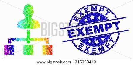 Dotted Spectrum User Links Mosaic Icon And Exempt Seal. Blue Vector Rounded Textured Seal Stamp With