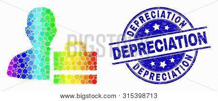 Pixel Spectrum Person Case Mosaic Pictogram And Depreciation Seal Stamp. Blue Vector Round Textured
