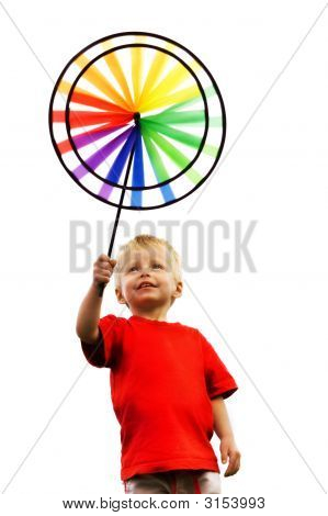 Little Boy And Rainbow Windmill.