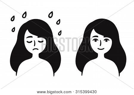 Young Girl With Sad, Depressed Face And Normal, Content Expression. Black And White Simple Cartoon D