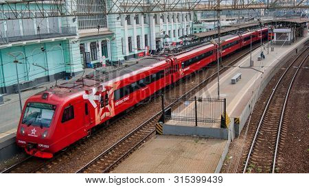 Moscow, Russia - July 2019. Aeroexpress. Railway, Ancient Architecture, Top View From The Bridge To