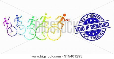 Dotted Rainbow Gradiented People Run Over Clocks Mosaic Icon And Void If Removed Watermark. Blue Vec