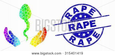 Pixel Bright Spectral Sperm Care Hands Mosaic Pictogram And Rape Watermark. Blue Vector Round Distre