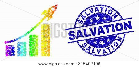 Pixelated Rainbow Gradiented Rocket Bar Chart Mosaic Icon And Salvation Seal. Blue Vector Rounded Te