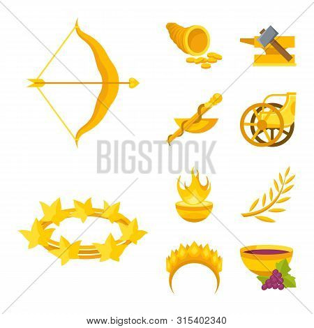 Isolated Object Of Attributes And Greek Sign. Collection Of Attributes And God Stock Symbol For Web.