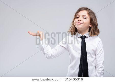 Cute Little Girl Extending Her Empty Palm