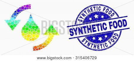 Dotted Spectrum Water Refresh Arrows Mosaic Pictogram And Synthetic Food Seal Stamp. Blue Vector Rou