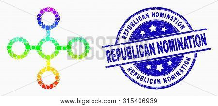 Pixel Rainbow Gradiented Network Node Mosaic Icon And Republican Nomination Seal. Blue Vector Round