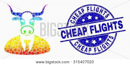 Dot Rainbow Gradiented Cow Boss Mosaic Icon And Cheap Flights Seal Stamp. Blue Vector Rounded Scratc