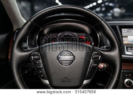 Novosibirsk, Russia - July 12, 2019:   Nissan Teana, Close-up Of The Dashboard, Speedometer, Tachome