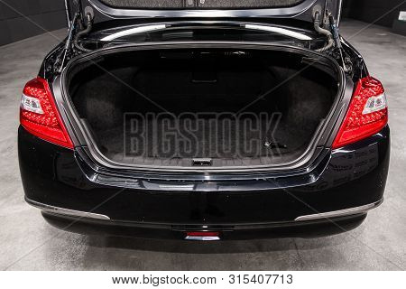 Novosibirsk, Russia - July 12, 2019:   Nissan Teana, Close-up Of The Open Trunk, Front View. Photogr