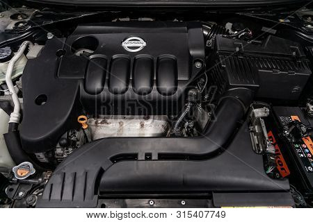 Novosibirsk, Russia - July 12, 2019:   Nissan Teana, Close-up Of The Engine, Front View. Internal Co