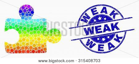 Pixelated Spectrum Puzzle Plugin Mosaic Icon And Weak Seal Stamp. Blue Vector Round Grunge Stamp Wit