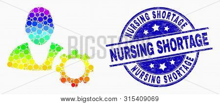 Pixelated Spectral User Options Cog Mosaic Pictogram And Nursing Shortage Stamp. Blue Vector Rounded