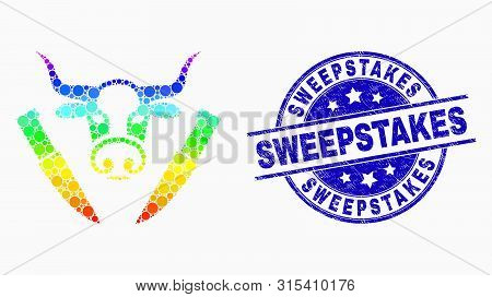 Pixelated Spectrum Cow Butchery Mosaic Pictogram And Sweepstakes Seal Stamp. Blue Vector Round Distr