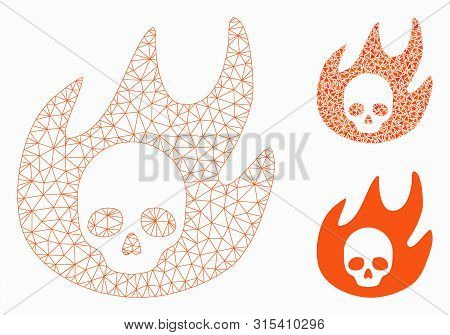 Mesh Hell Fire Model With Triangle Mosaic Icon. Wire Frame Triangular Network Of Hell Fire. Vector M