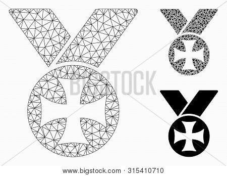 Mesh Maltese Medal Model With Triangle Mosaic Icon. Wire Frame Polygonal Mesh Of Maltese Medal. Vect
