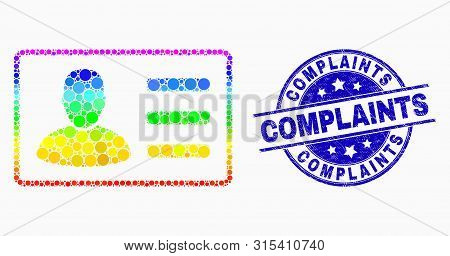 Pixel Rainbow Gradiented User Card Mosaic Icon And Complaints Seal Stamp. Blue Vector Rounded Scratc