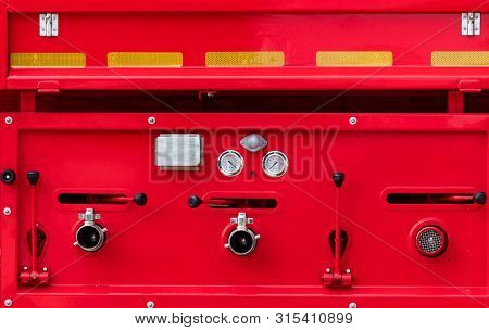 Fire Truck. Rescue Engine. Side View Of Red Firetruck Vehicle. Fire Department Truck. High Pressure