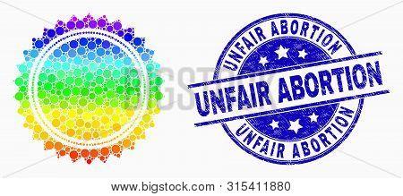 Pixelated Rainbow Gradiented Seal Stamp Template Mosaic Pictogram And Unfair Abortion Watermark. Blu