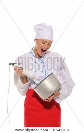 Dissatisfied Woman Chef  With Blender And Pot