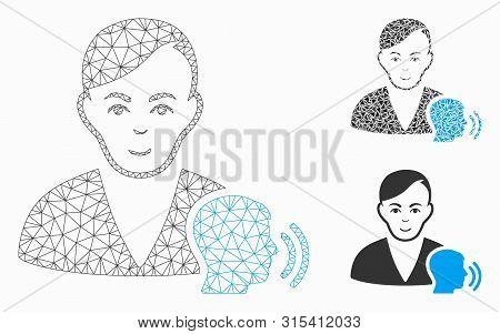 Mesh Psychoanalysis Talking Model With Triangle Mosaic Icon. Wire Carcass Triangular Mesh Of Psychoa