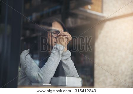 Person Side View,asian Women Sad,broken Heart And Depressed About Bad Relationship.young Thoughtful