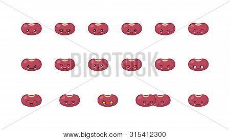 Beans Cute Kawaii Mascot. Set Kawaii Food Faces Expressions Smile Emoticons.