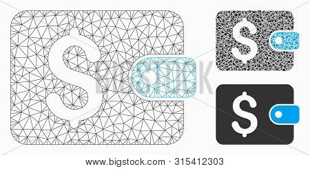 Mesh Purse Model With Triangle Mosaic Icon. Wire Frame Triangular Mesh Of Purse. Vector Collage Of T