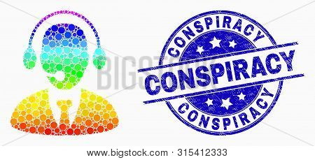 Pixel Spectrum Secretary Mosaic Icon And Conspiracy Seal Stamp. Blue Vector Round Grunge Seal Stamp
