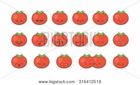 Tomato Cute Kawaii Mascot. Set Kawaii Food Faces Expressions Smile Emoticons.
