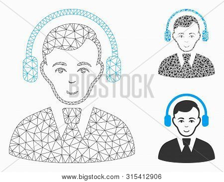 Mesh Radio Operator Model With Triangle Mosaic Icon. Wire Carcass Triangular Mesh Of Radio Operator.