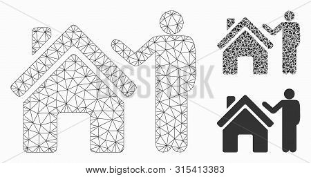 Mesh Realty Buyer Model With Triangle Mosaic Icon. Wire Frame Polygonal Mesh Of Realty Buyer. Vector