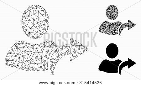 Mesh Redo Model With Triangle Mosaic Icon. Wire Carcass Polygonal Mesh Of Redo. Vector Mosaic Of Tri