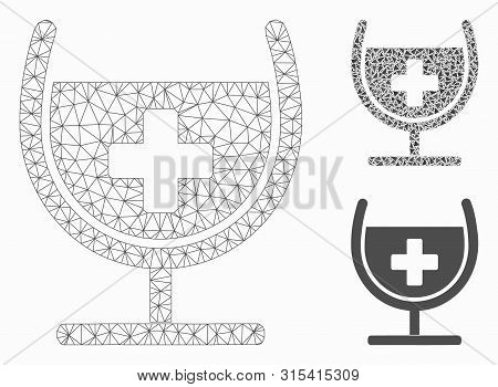 Mesh Remedy Syrup Glass Model With Triangle Mosaic Icon. Wire Carcass Polygonal Mesh Of Remedy Syrup