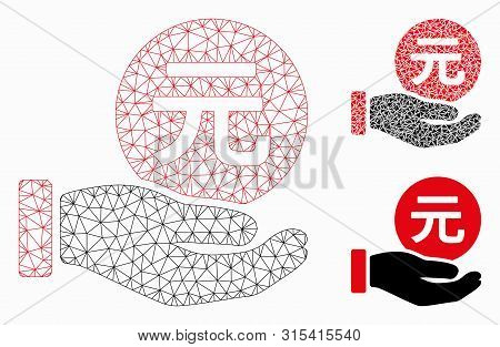 Mesh Renminbi Yuan Coin Payment Model With Triangle Mosaic Icon. Wire Carcass Triangular Mesh Of Ren